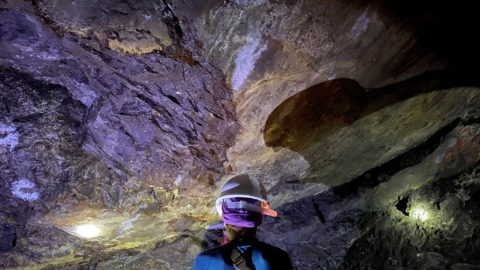 Geologist Studying Underground Tunnel at Plomosas