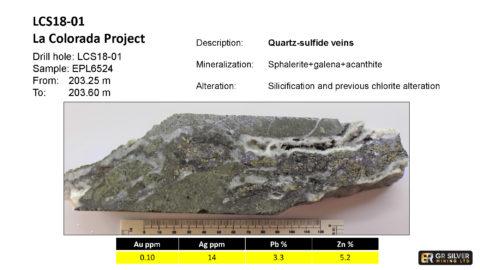 LCS18-01 – Quartz sulfide veins