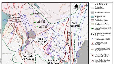 San Juan-La Colorada Area Geology – Drill Hole Location Map