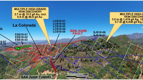 Step Out Drilling Areas at San Juan-La Colorada and Scout Drilling at Yecora, El Saltito (looking to the NW)—As of July 15, 2020