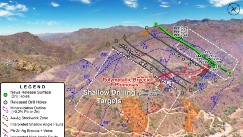Drone Image of the Plomosas Mine Area (looking-to-the-NW) - Drill-Hole Location Map—As of Aug 11, 2020
