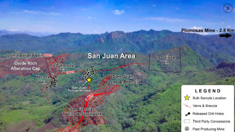 Drone Image of the San Juan Area – Location of Underground Sampling—As of Dec 7, 2020