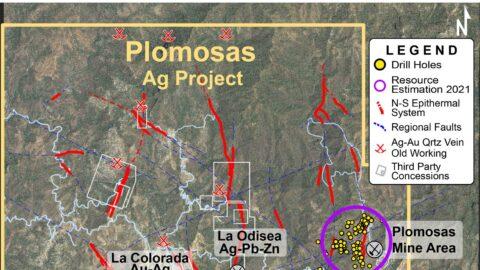 Plomosas Project - Location Map of 9 Mineralized Corridors—Feb 17, 2021