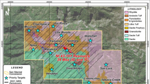 San Marcial – Concession, Geology, Targets and Geophysical Survey Lines—Feb 22, 2021