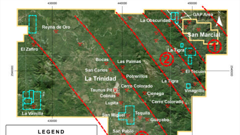 La Trinidad Concession – Mineralized Trends and Historical Workings