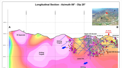 Longitudinal Section - Plomosas Mine Area (Looking East)—May 26, 2021