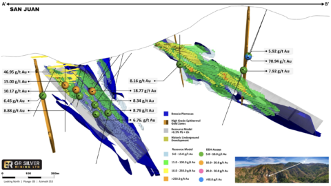 3D Representation of the San Juan Area including the San Juan and La Colorada veins